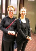 Danielle and Emily ready to share ashes at the Downtown Berkeley BART Station.